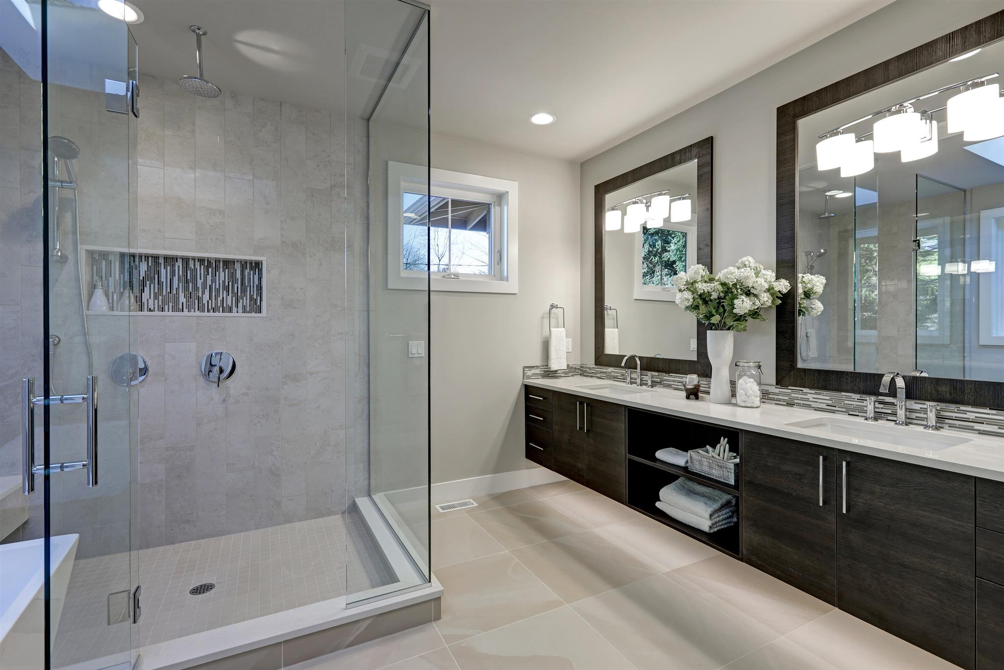 bigstock Spacious Bathroom In Gray Tone