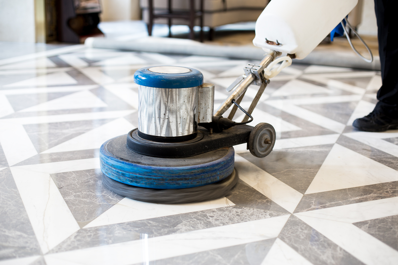 bigstock man polishing marble floor in